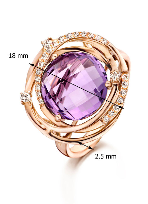 Diamond Point Roségouden ring 4.88 ct paarse amethist Colors
