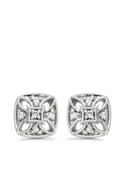 Diamond Point Since 1904 earrings in 14 karat white gold