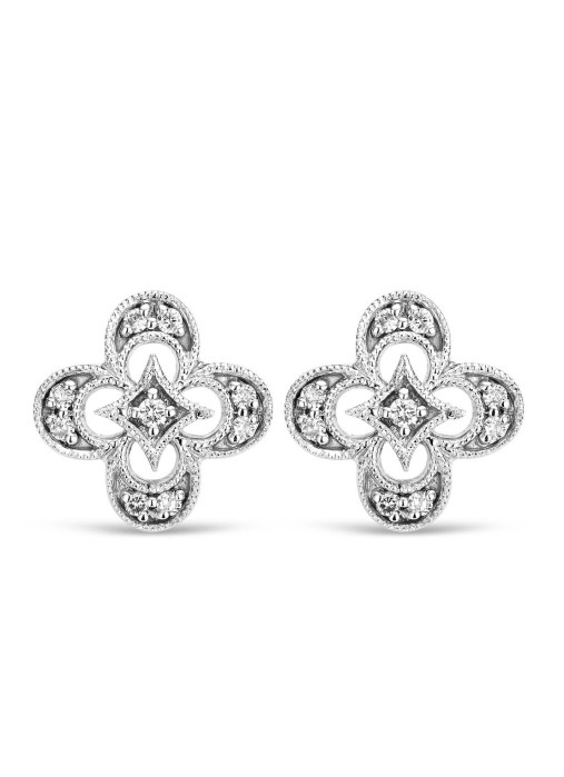 Diamond Point Since 1904 earrings in 14 karat white gold