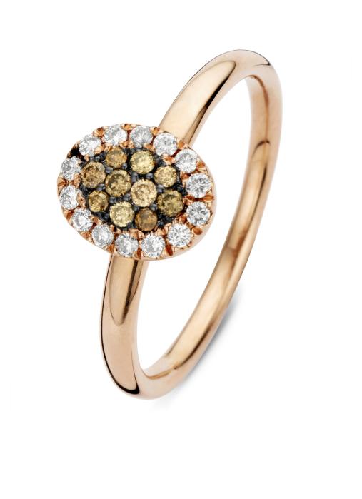 Diamond Point Brown Ring in 14K Roségold