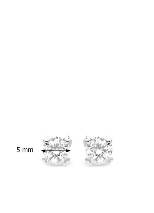 Diamond Point Hearts & arrows earrings in 18 karat white gold