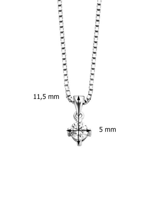 Diamond Point Hearts & arrows pendant in 18 karat white gold