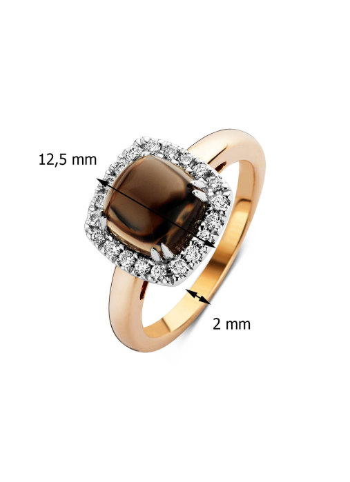 Diamond Point Colors ring in 14 karat rose and white gold