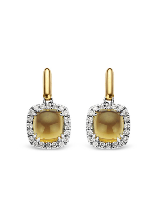 Diamond Point Colors earrings in 14 karat yellow and whitegold
