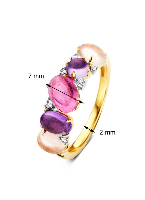 Diamond Point Colors ring in 14 karat yellow and whitegold