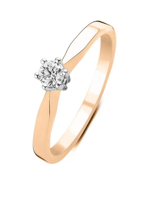 Diamond Point Groeibriljant stud ring in 18 karat rose gold, 0.14 ct.