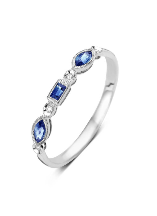 Diamond Point Witgouden ring, 0.26 ct blauwe saffier, Since 1904