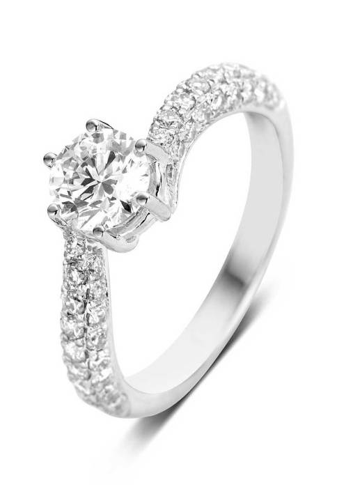 Diamond Point Ring, 1.48 ct diamant, Hearts & Arrows