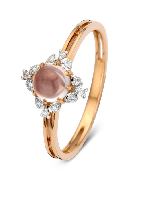 Diamond Point Roségouden ring, 0.64 ct roze kwarts, Colors