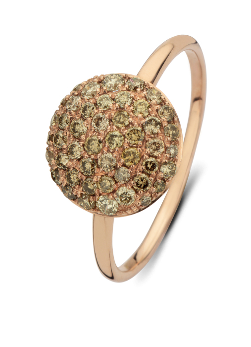 Diamond Point Brown ring in 14 karat rose gold