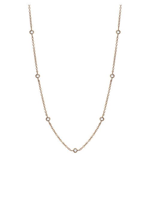 Diamond Point Solitair necklace in 14 karat rose gold