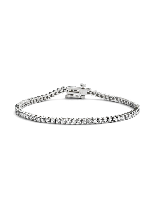 Diamond Point Hearts & arrows bracelet in 18 karat white gold