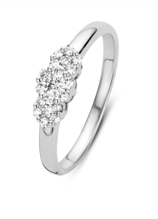 Diamond Point Witgouden ring, 0.27 ct diamant, Caviar