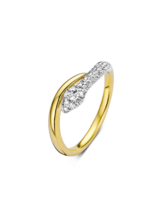 Diamond Point Caviar ring in 14 karat yellow and whitegold