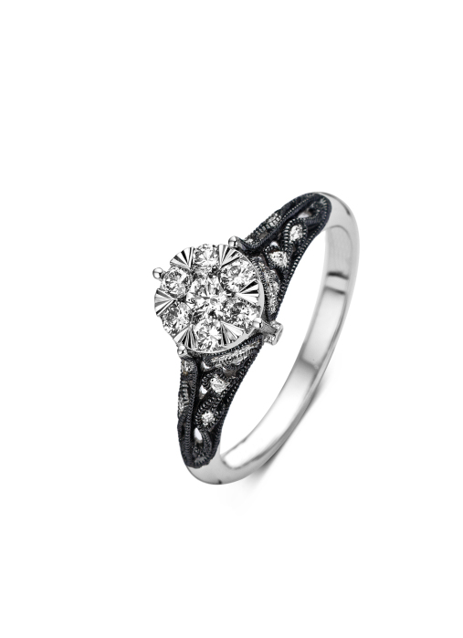 Diamond Point Witgouden ring, 0.45 ct diamant, Since 1904