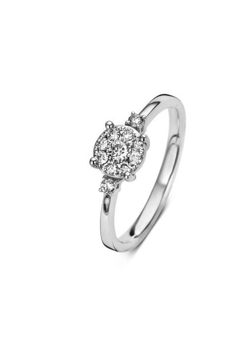 Diamond Point Witgouden ring, 0.24 ct diamant, Caviar