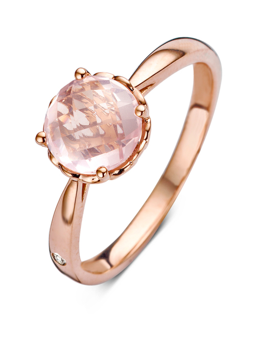 Diamond Point Roségouden ring, 1.37 ct roze kwarts, Colors