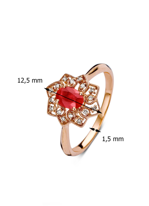 Diamond Point Roségouden ring, 0.57 ct robijn, Since 1904
