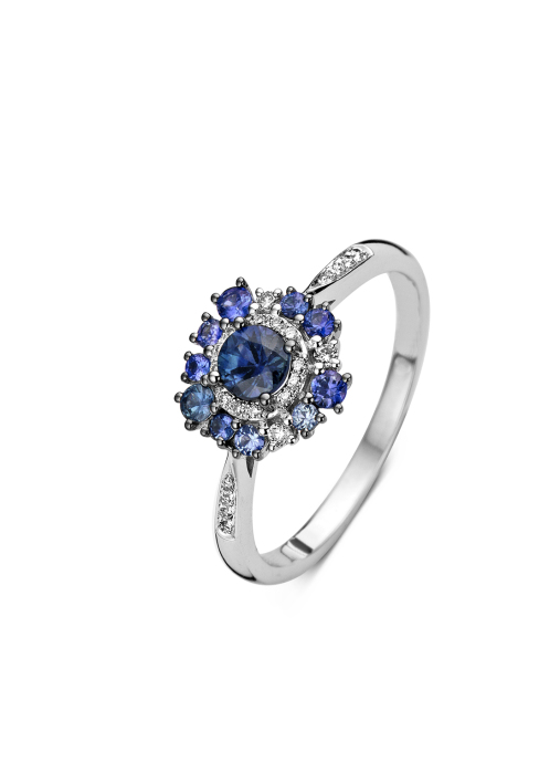 Diamond Point Witgouden ring, 0.58 ct blauwe saffier, Colors