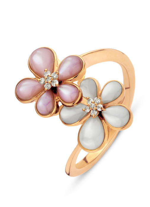 Diamond Point Mother of Pearl Ring in 18K Roségold