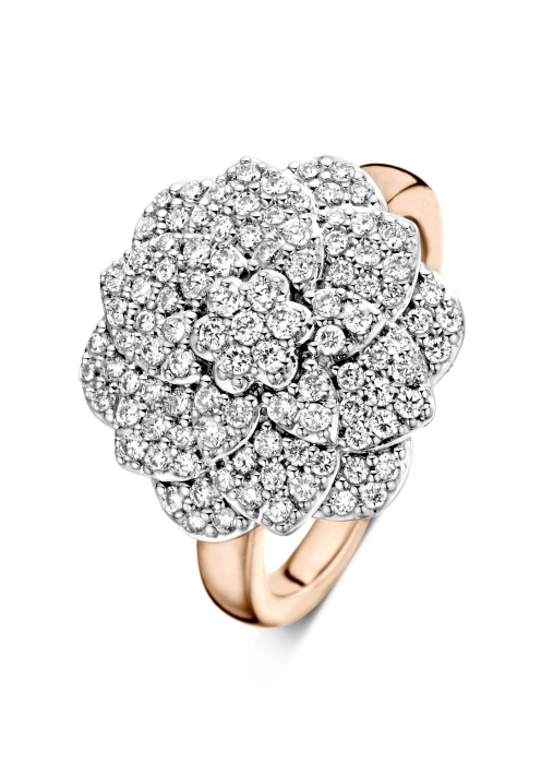Diamond Point Caviar ring in 14 karat rose and white gold