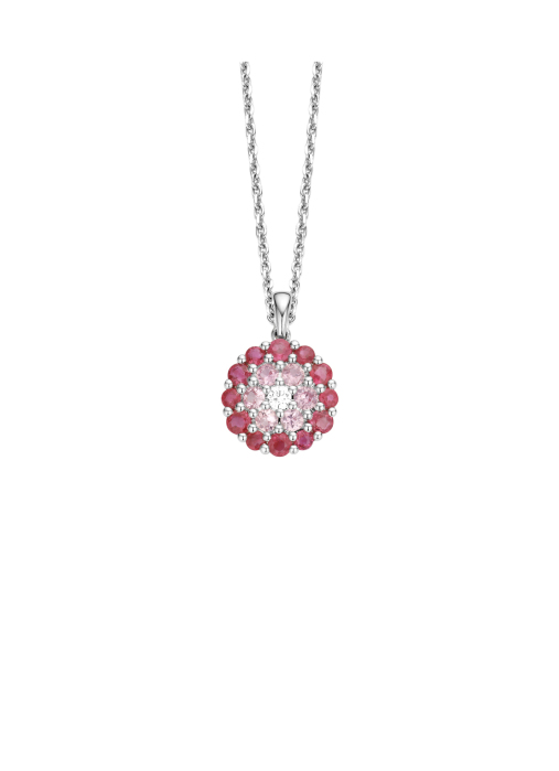 Diamond Point Colors pendant in 14 karat white gold