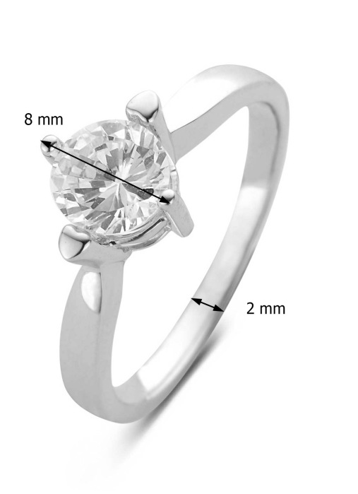 Diamond Point Witgouden ring, 1.24 ct diamant, Hearts & Arrows