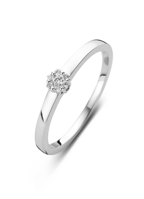 Diamond Point Witgouden ring, 0.07 ct diamant, Caviar