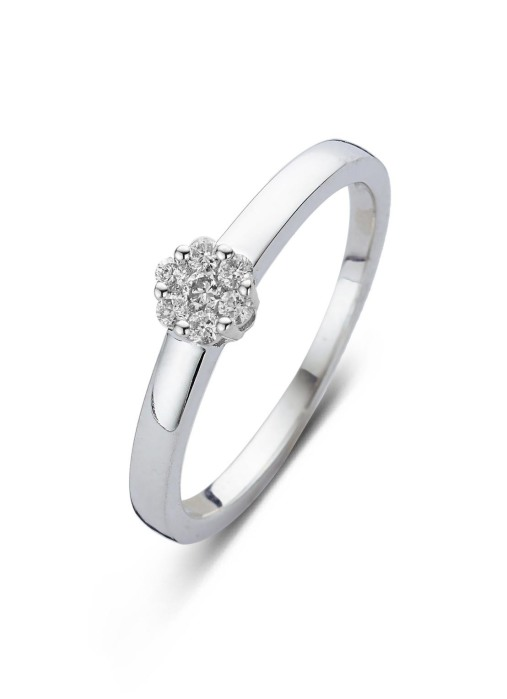 Diamond Point Entourage ring in 14 karat white gold