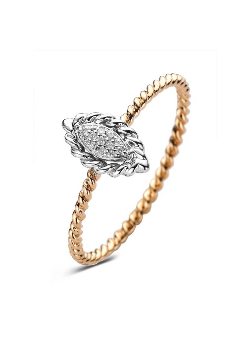 Diamond Point Caviar Ring in 14K Weiß- und Roségold