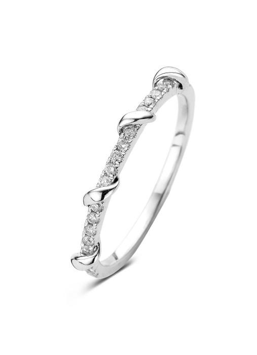 Diamond Point Witgouden ring, 0.16 ct diamant, Alliance