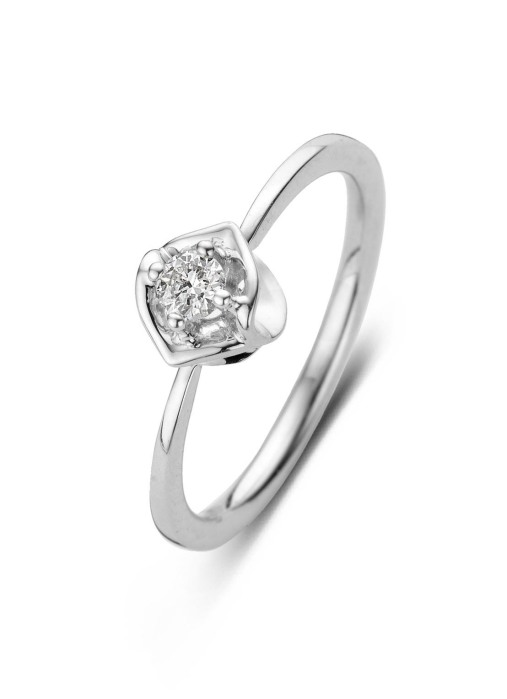 Diamond Point Witgouden ring, 0.13 ct diamant, Solitair