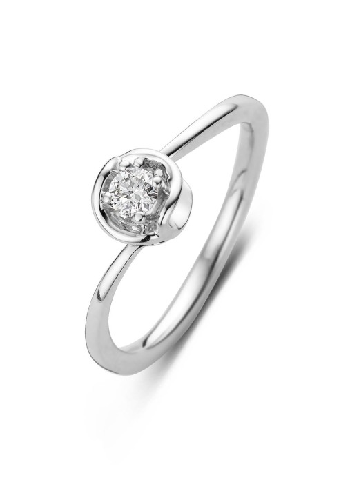 Diamond Point Witgouden ring, 0.14 ct diamant, Solitair