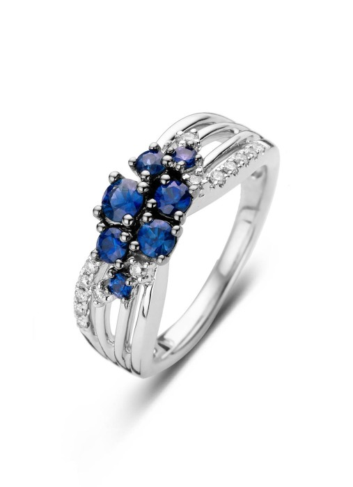 Diamond Point Witgouden ring, 0.74 ct blauwe saffier, Colors