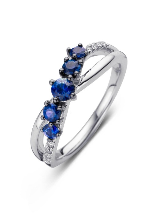 Diamond Point Witgouden ring, 0.64 ct blauwe saffier, Colors