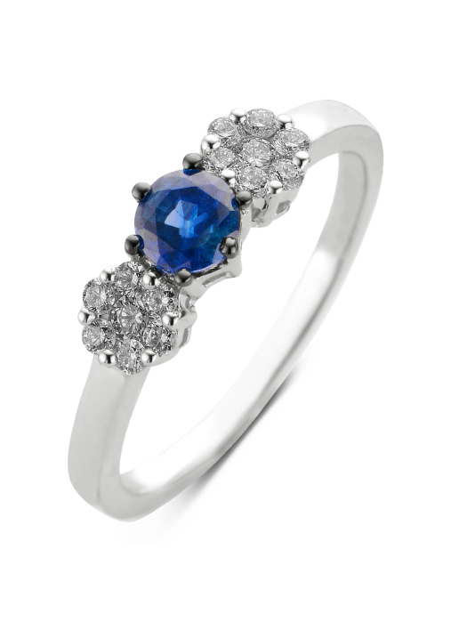 Diamond Point Witgouden ring, 0.48 ct blauwe saffier, Colors