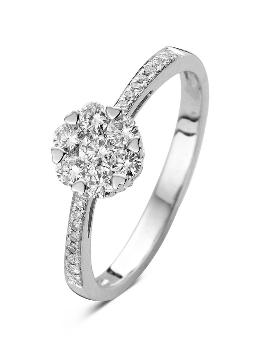 Diamond Point Witgouden ring, 0.47 ct diamant, Caviar