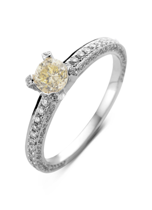 Diamond Point Witgouden ring, 1.10 ct diamant, Solitair