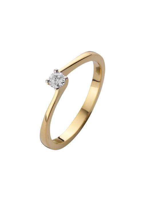 Diamond Point Solitair Ring in 14 karaat geel- en witgoud