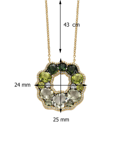 Diamond Point Colors necklace in 18 karat yellow gold