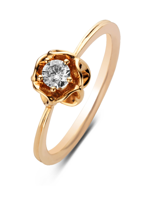 Diamond Point Solitair ring in 14 karat rose gold