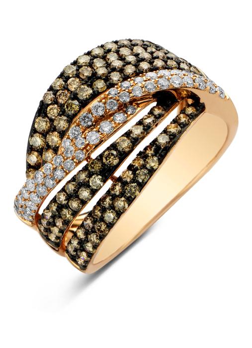 Diamond Point Roségouden ring, 1.58 ct diamant, Brown