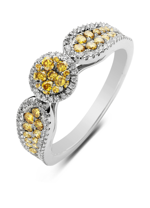 Diamond Point Caviar ring in 14 karat white gold