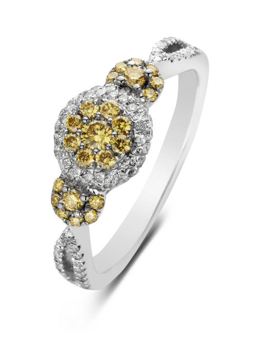 Diamond Point Witgouden ring, 0.57 ct diamant, Caviar