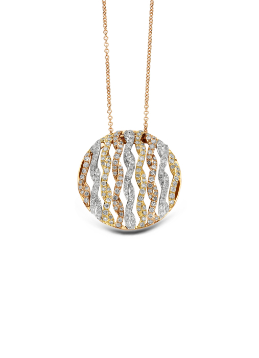 Diamond Point Caviar pendant in 14 karat white, yellow and rose gold