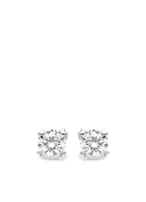 Diamond Point Hearts & Arrows Ohrringe in 18K Weißgold