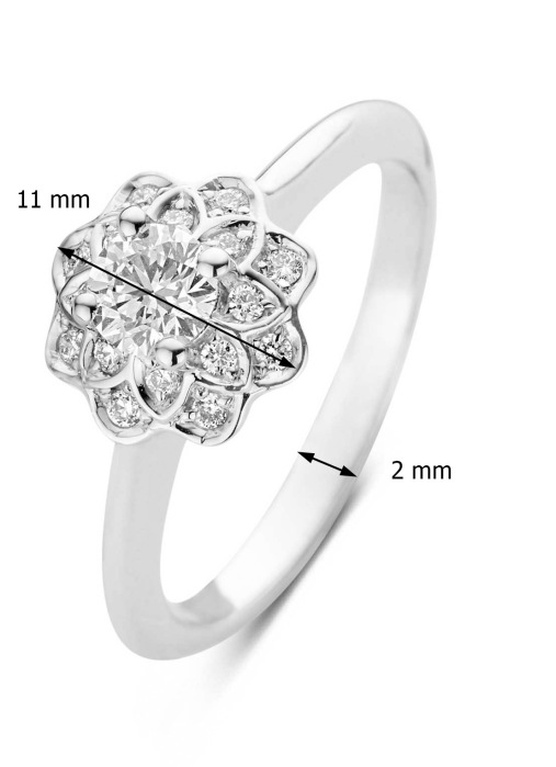 Diamond Point Witgouden ring, 0.75 ct diamant, Hearts & Arrows