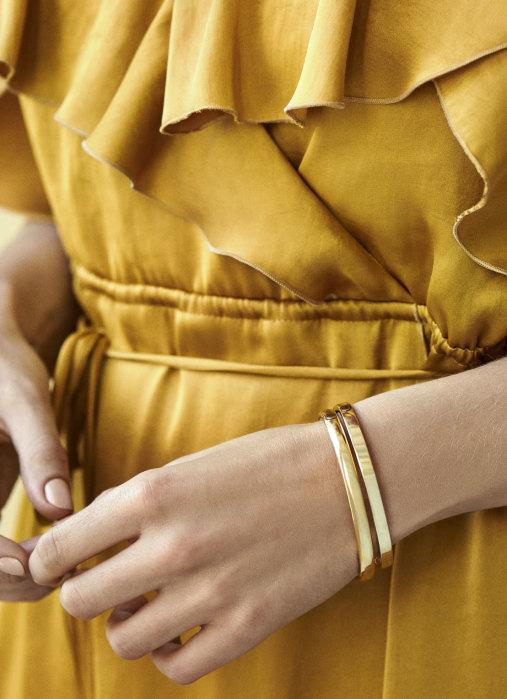 Diamond Point Silver bangle bracelet (M)