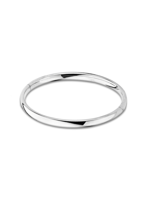 Diamond Point Silver bangle bracelet (L)