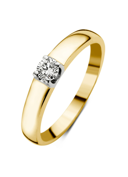 Diamond Point Groeibriljant ring c shape in 18 karat yellow gold, 0.14 ct.